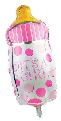 Roze babyfles its a girl voor geboorte meisje 35 cm