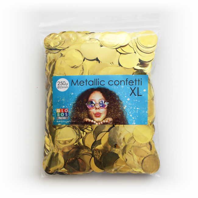 Confetti metallic round 23 mm- 250 gram- gold