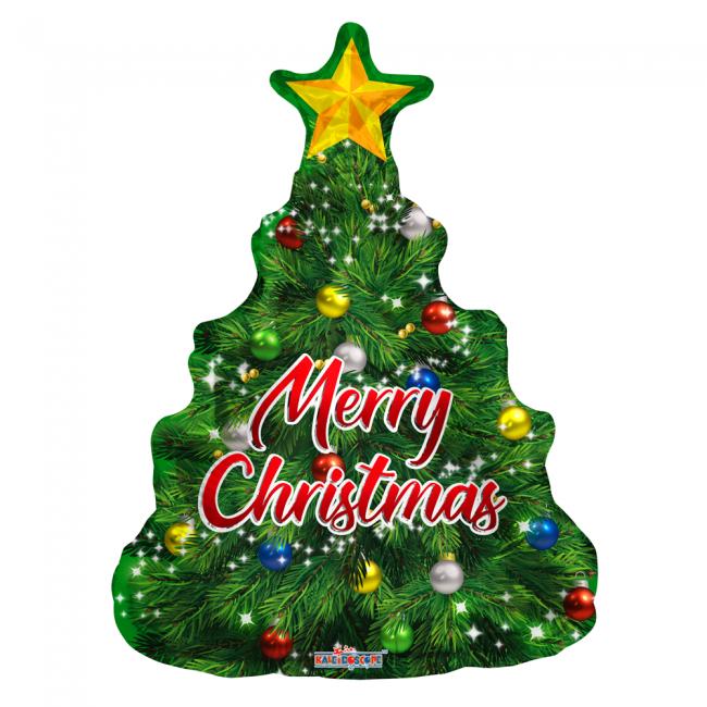 Folieballon kerstboom Merry Christmas 91 cm