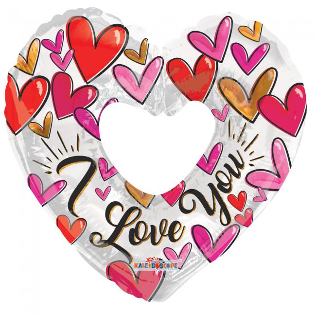 Folie ballon I Love You in wit met rode hartjes  91,4 cm groot