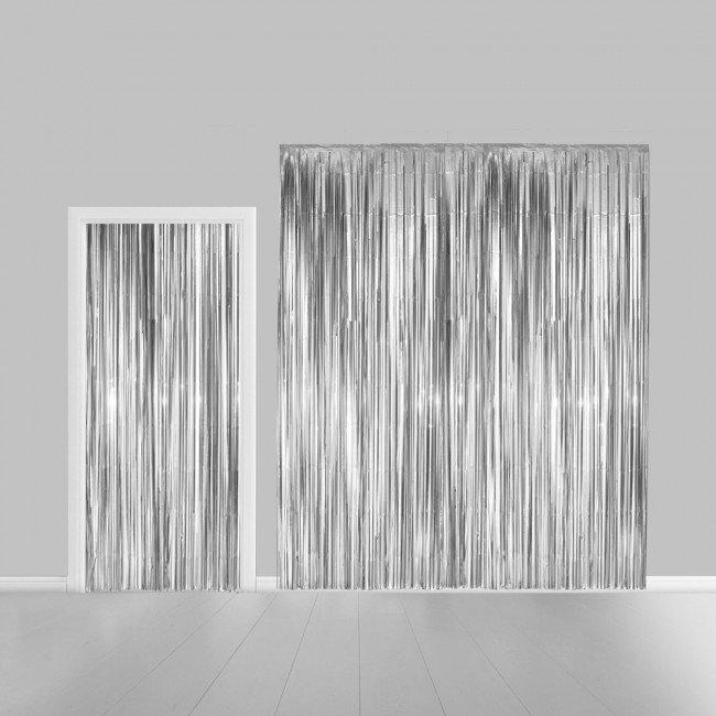 Partygordijn. Zilver. 100 x 240 cm. Vlamvertragend.