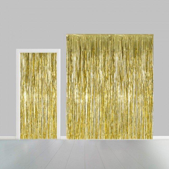 Partygordijn. Goud 100 x 240 cm. Vlamvertragend.