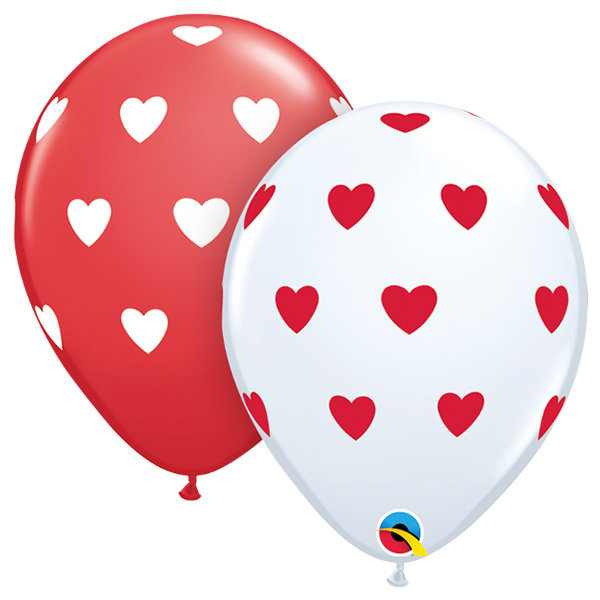 10 stuks - Rode ballon met witte hartjes/witte ballon met rode hartjes 30 cm hoge kwaliteit