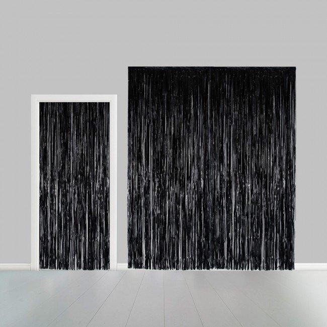 Partygordijn zwart. 100cm x 240 cm. Vlamvertragend.