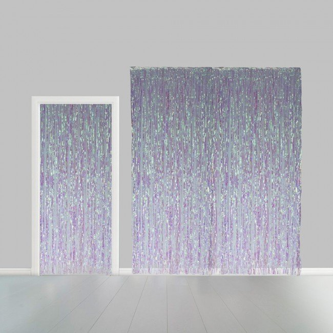 Partygordijn iridescent. 100cm x 240 cm. Vlamvertragend.