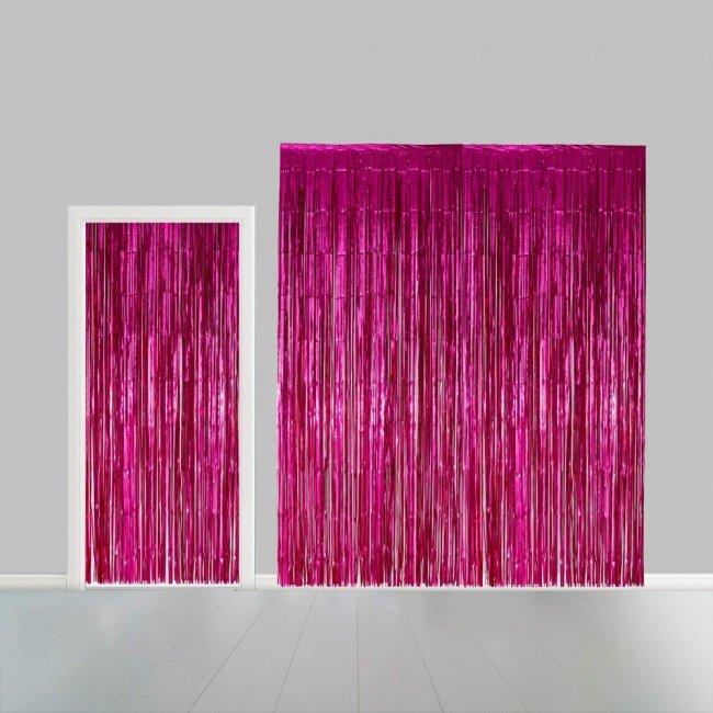 Partygordijn hot pink. 100cm x 240 cm. Vlamvertragend.