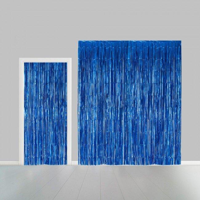 Partygordijn blauw. 100cm x 240 cm. Vlamvertragend.