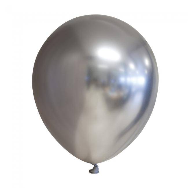 50 stuks ZILVER decoratieve chroom / spiegel ballonnen 30 cm.