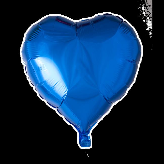 Folieballon hartvormig blauw per 3 stuks