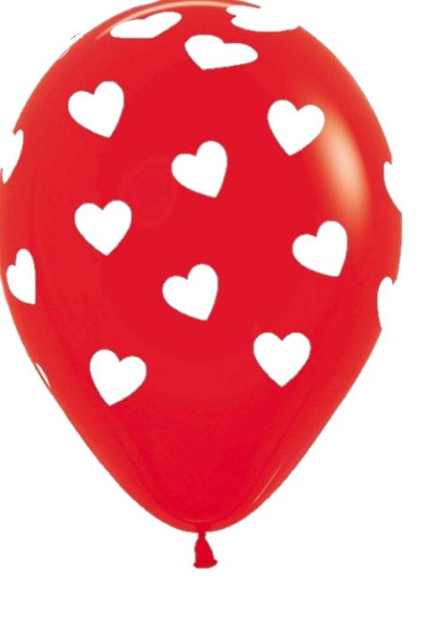 10 stuks rode latex ballon met witte hartjes.