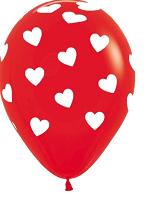 Rode latex ballon met witte hartjes.