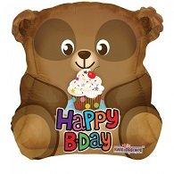 Folie ballon als beer happy birthday 46 cm groot