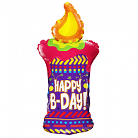 Folie ballon  91,4 cm happy birthday kaarsvorm