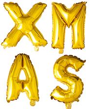 ballonnen - 41 cm - goud - letters - XMAS
