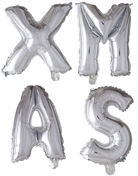 folie ballonnen - 41 cm - zilver - letters - XMAS