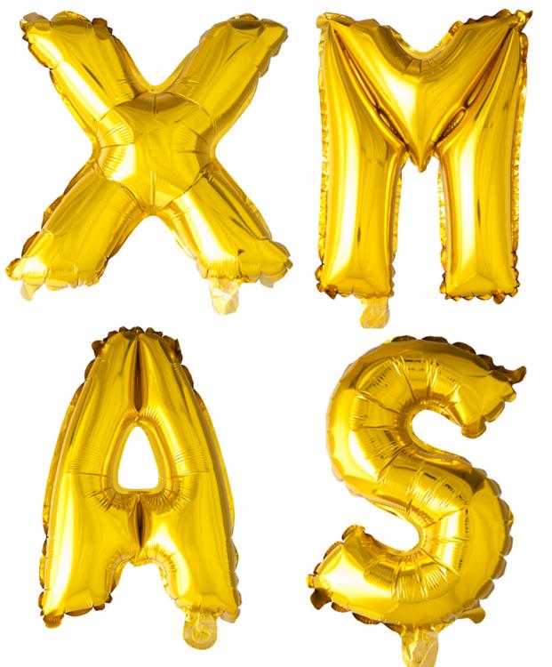 ballonnen - 100 cm - goud - letters - XMAS