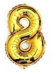 100 cm grote XL folie ballon van hoge kwaliteit nummer 8 goud