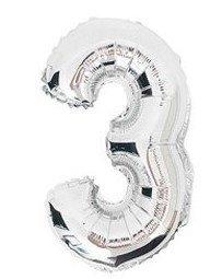100 cm grote XL folie ballon van hoge kwaliteit nummer 3 zilver