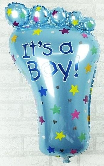 Blauwe babyvoet its a boy voor geboorte jongen 35 cm