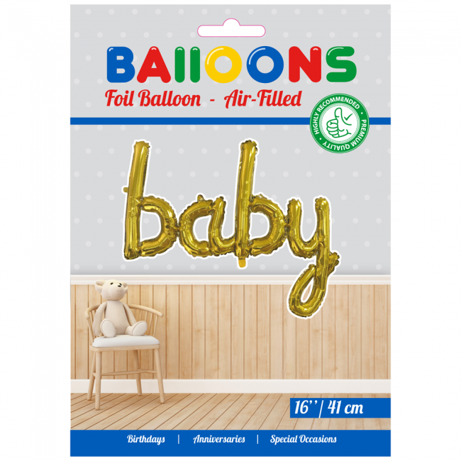 Folie ballon baby goud in letters