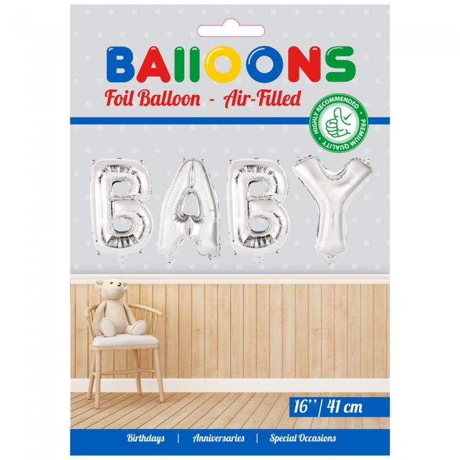 Folie ballon baby zilver 41 cm  in letters