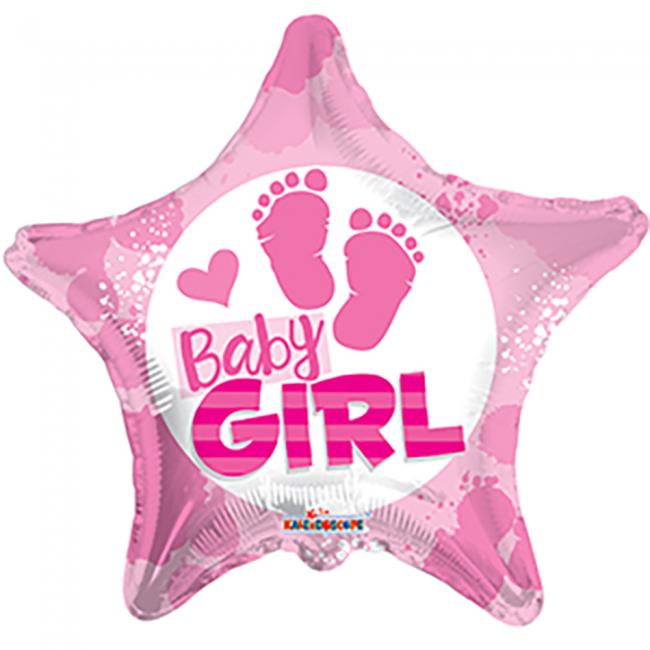 Folie ballon baby girl ster vorm 46 cm groot