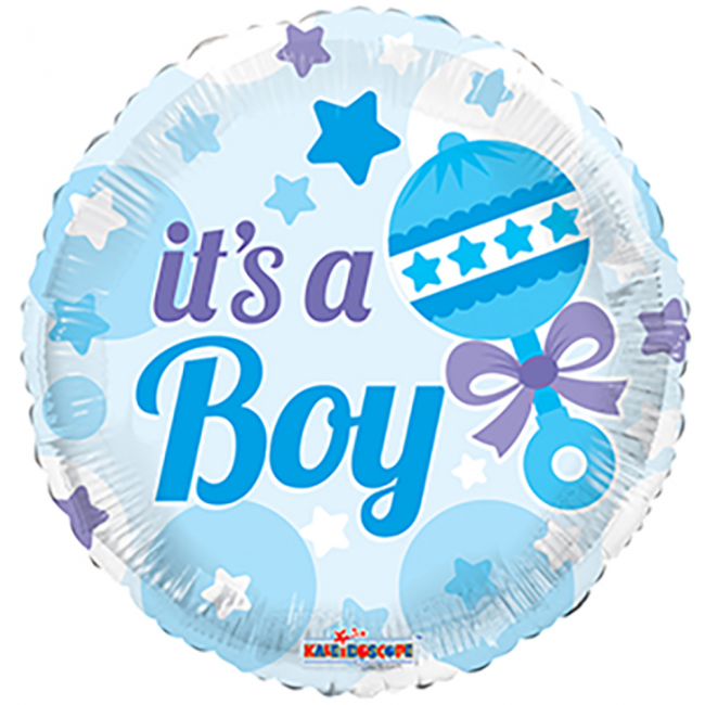 Folie ballon it's a Boy met sterren kleur blauw 46 cm groot