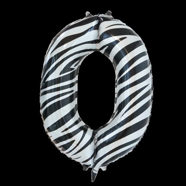 Folie ballon cijfer 0 met zebra print 86 cm