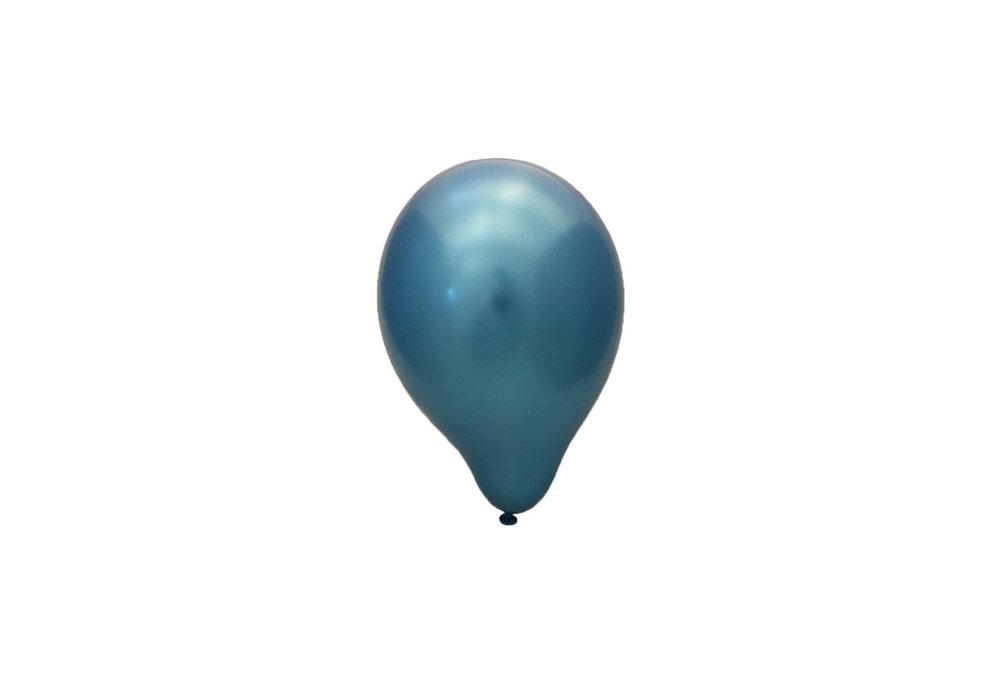 Blauwe chrome latex ballon 30 cm