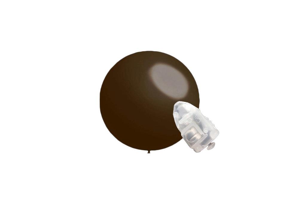 5 stuks ledverlichte Decoratieballonnen donker bruin 28 cm met losse LED-lampjes