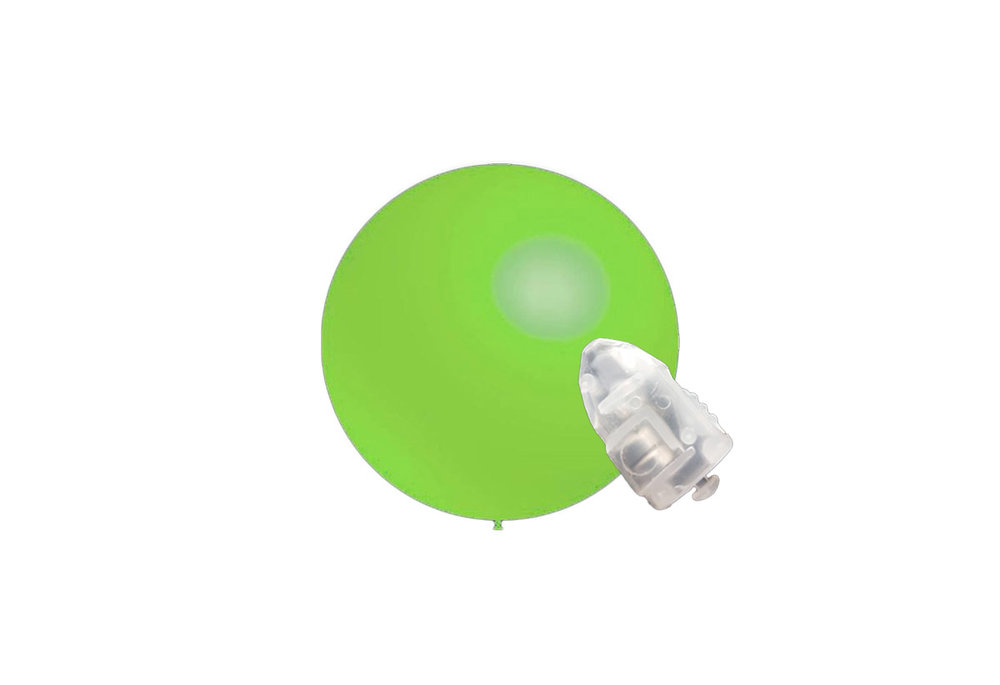 5 stuks ledverlichte Decoratieballonnen munt groen 28 cm met losse LED-lampjes