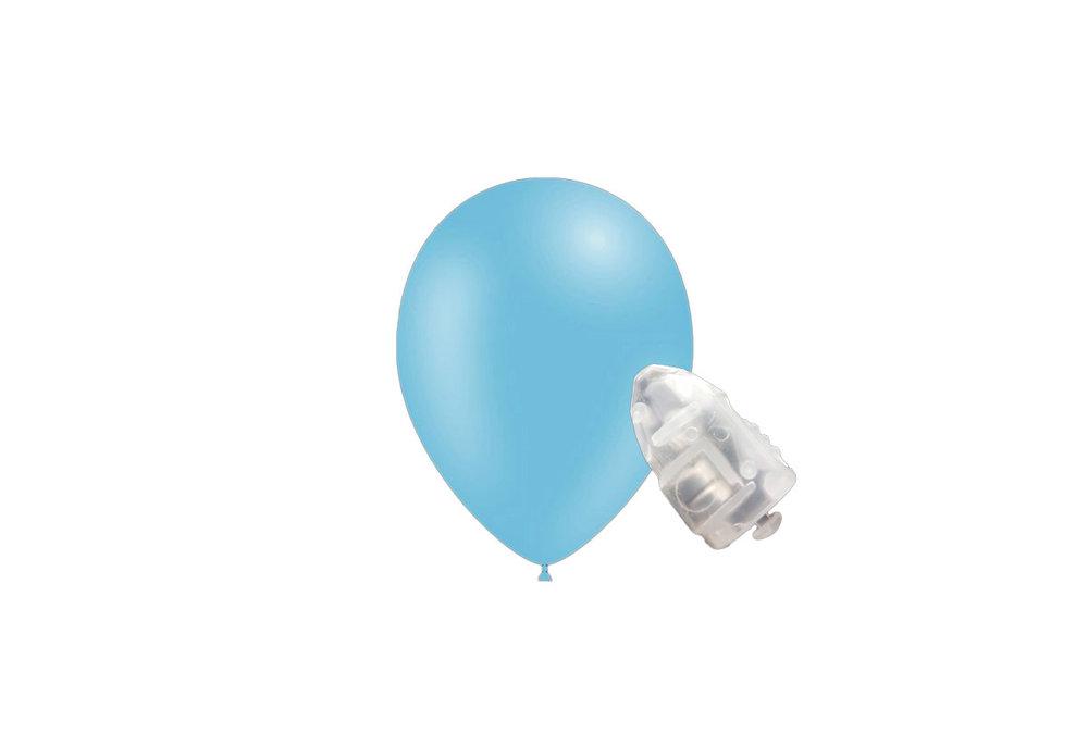 5 stuks ledverlichte Feestballonnen licht blauw 26 cm pastel met losse LED-lampjes