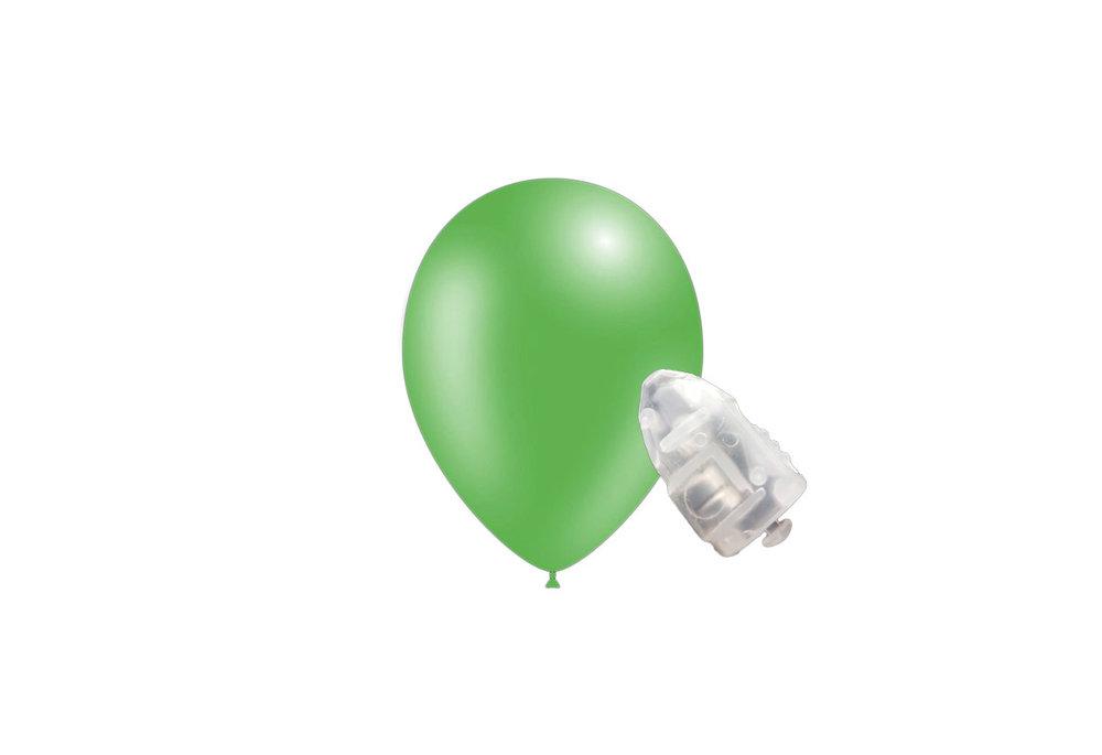 5 stuks ledverlichte Feestballonnen metallic groen 26 cm met losse LED-lampjes