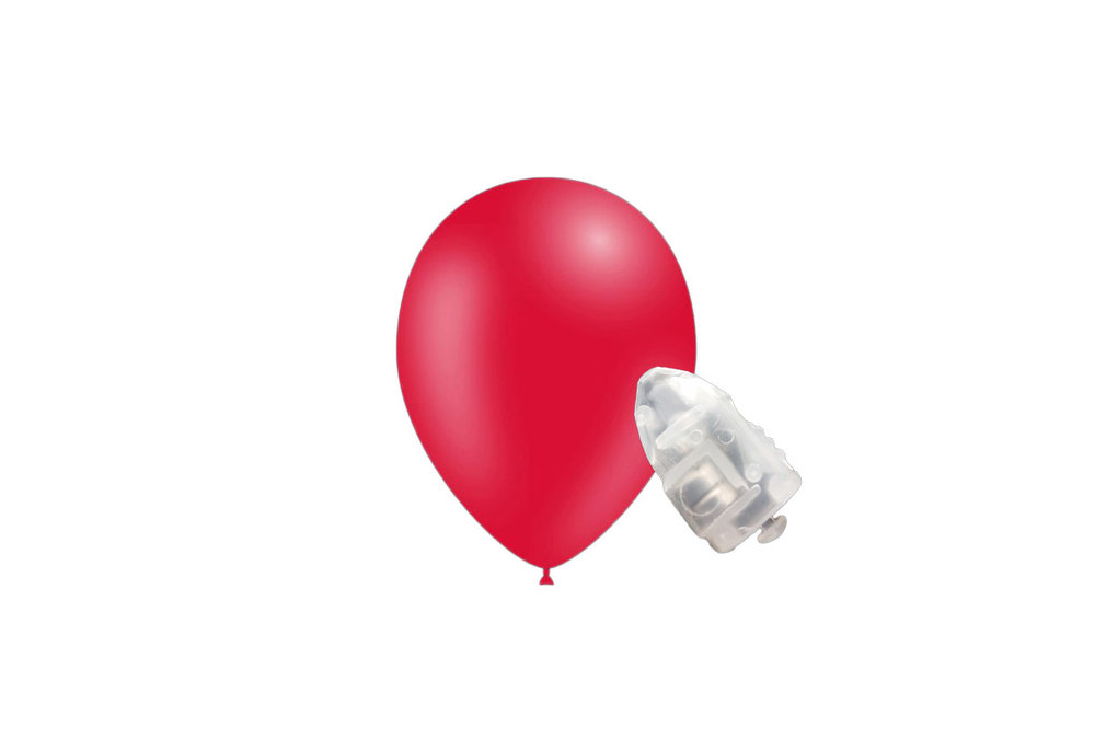 5 stuks ledverlichte Feestballonnen rood 26 cm pastel met losse LED-lampjes