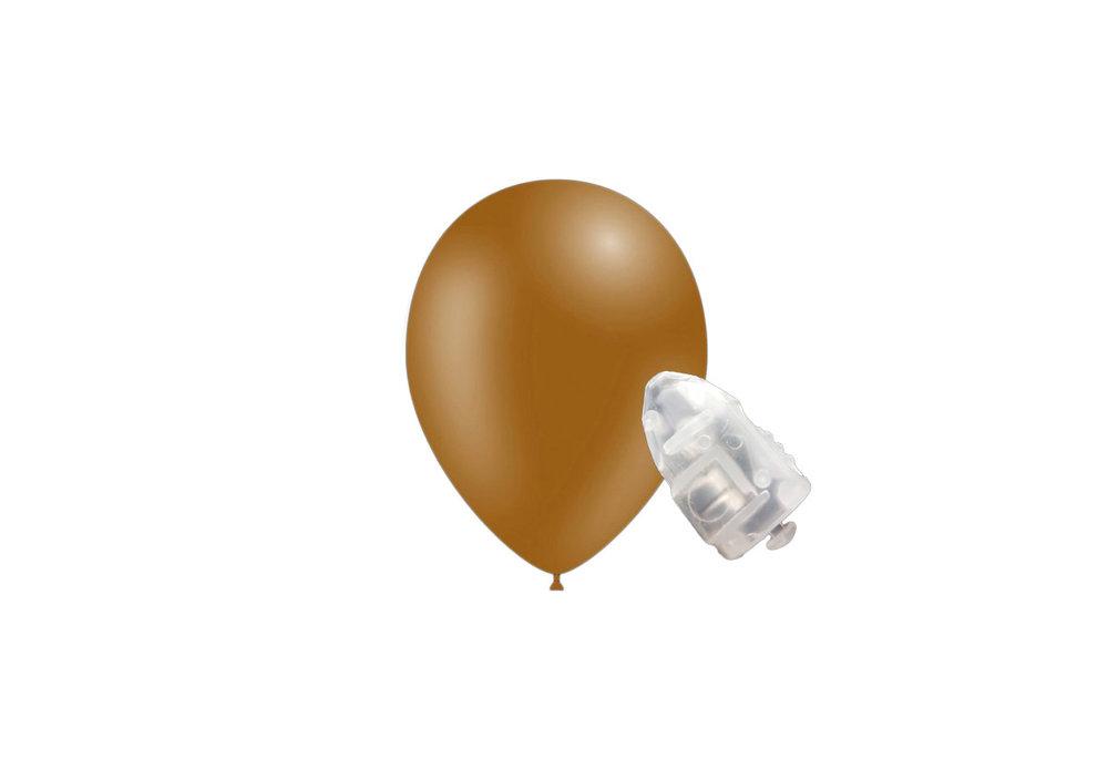 5 stuks ledverlichte Feestballonnen bruin 26 cm pastel met losse LED-lampjes