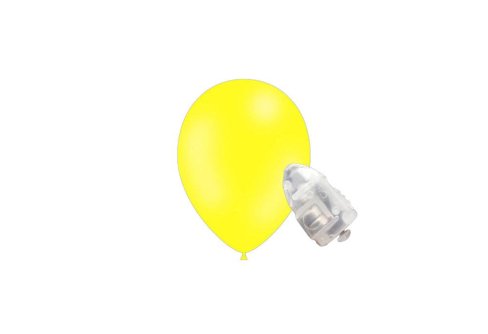 5 stuks ledverlichte Feestballonnen citroen 26 cm pastel met losse LED-lampjes