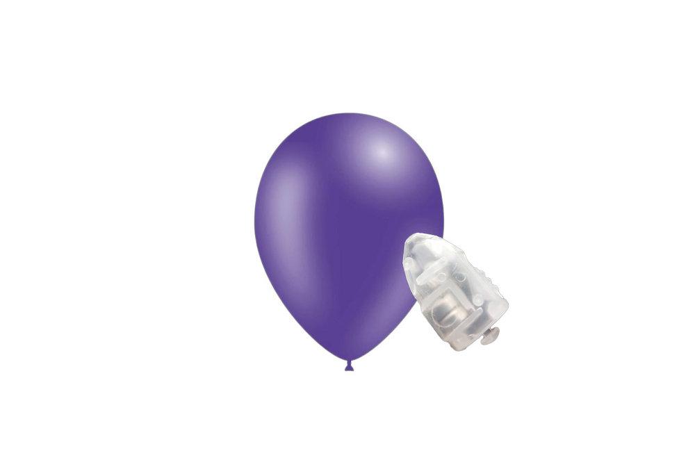 5 stuks ledverlichte Feestballonnen paars 26 cm pastel met losse LED-lampjes