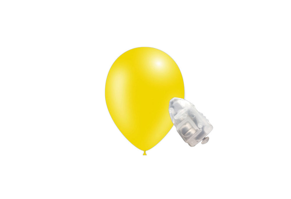 5 stuks ledverlichte Feestballonnen metallic geel 26 cm met losse LED-lampjes