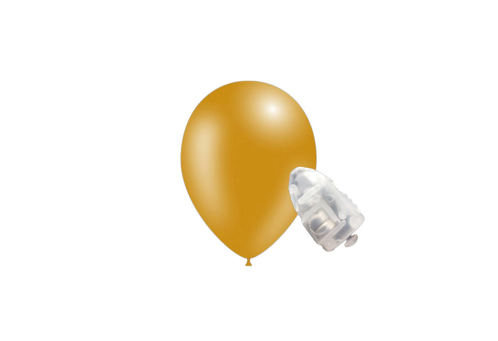 5 stuks ledverlichte Feestballonnen metallic goud 26 cm met losse LED-lampjes