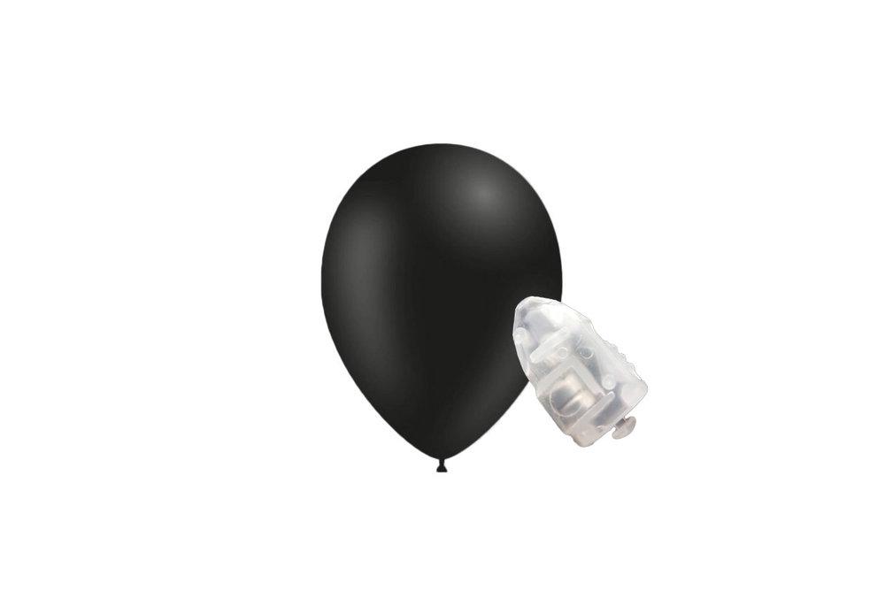 5 stuks ledverlichte Feestballonnen zwart 26 cm pastel met losse LED-lampjes