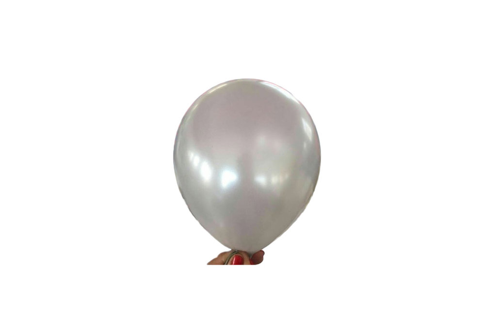 Zilveren parelmoer metallic ballon 30 cm hoge kwaliteit