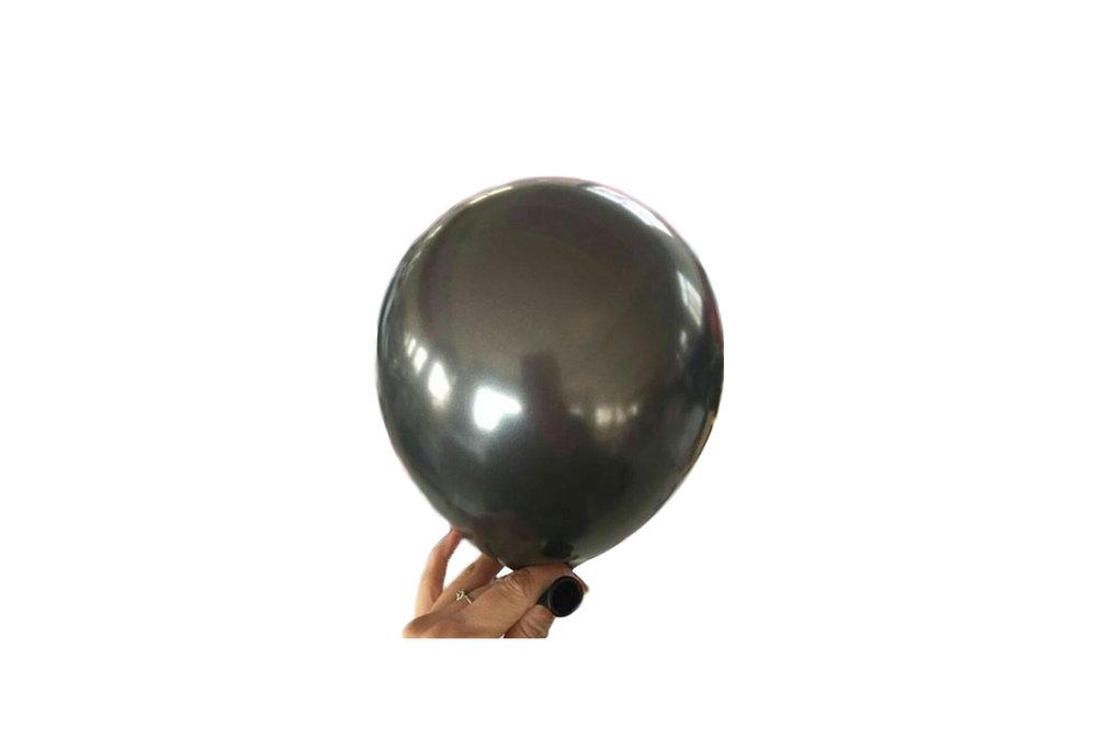 10 stuks - Zwarte parelmoer metallic ballon 30 cm hoge kwaliteit