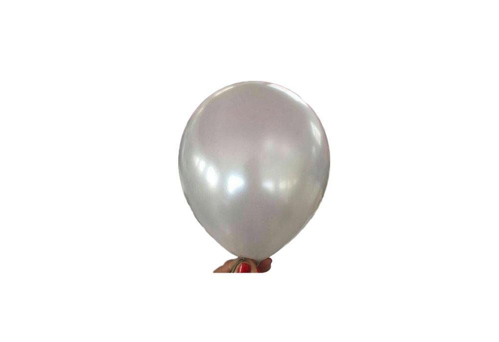 100 stuks - Zilveren parelmoer metallic ballon 30 cm hoge kwaliteit