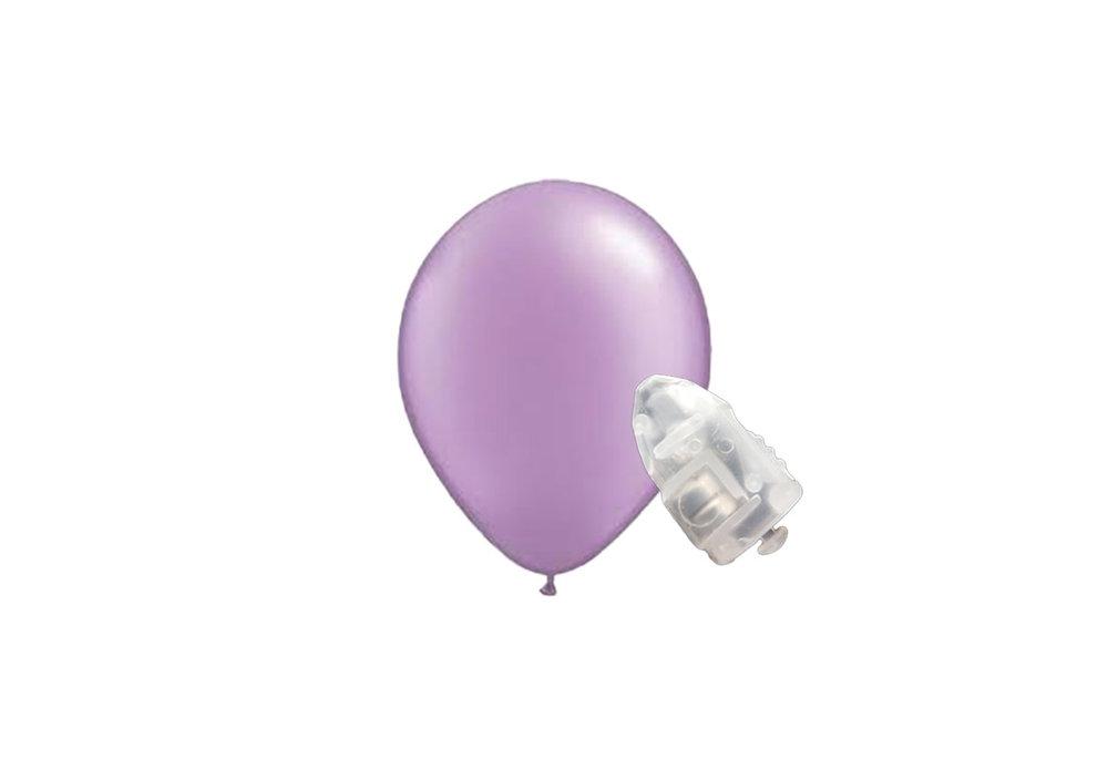 5 stuks ledverlichte Lilla parelmoer metallic ballonnen 30 cm met losse LED-lampjes