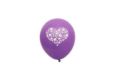 100 stuks - Paarse ballon met witte hartjes in groot hart in groot hart 30 cm hoge kwaliteit