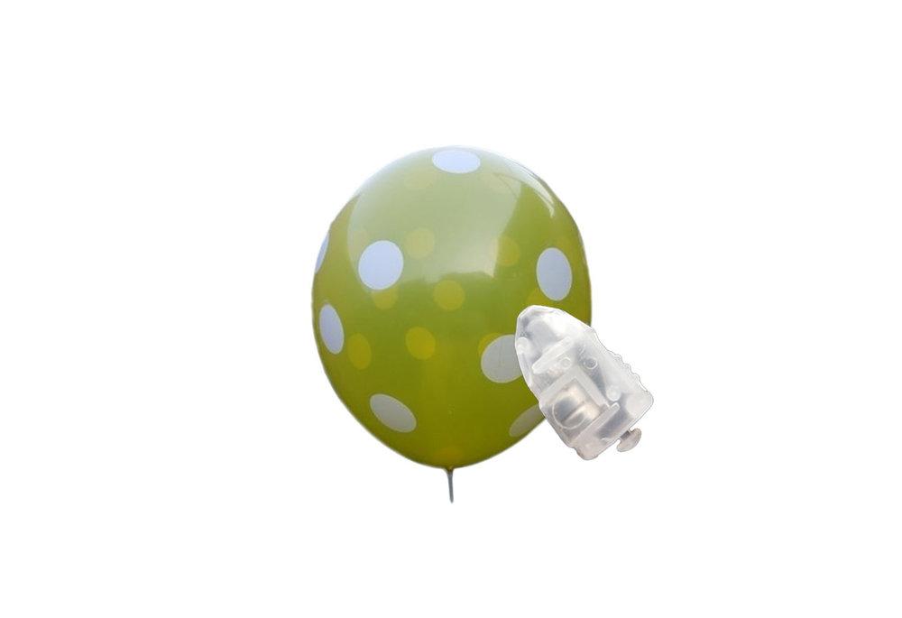 5 stuks ledverlichte Gele ballonnen met witte stippen 30 cm met losse LED-lampjes