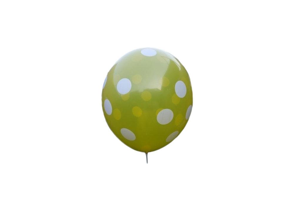 25 stuks - Gele ballon met witte stippen 30 cm hoge kwaliteit