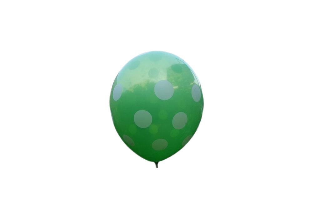 100 stuks - Groene ballon met witte stippen 30 cm hoge kwaliteit