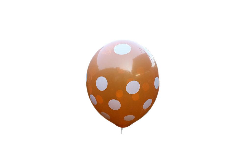 100 stuks - Oranje ballon met witte stippen  30 cm hoge kwaliteit