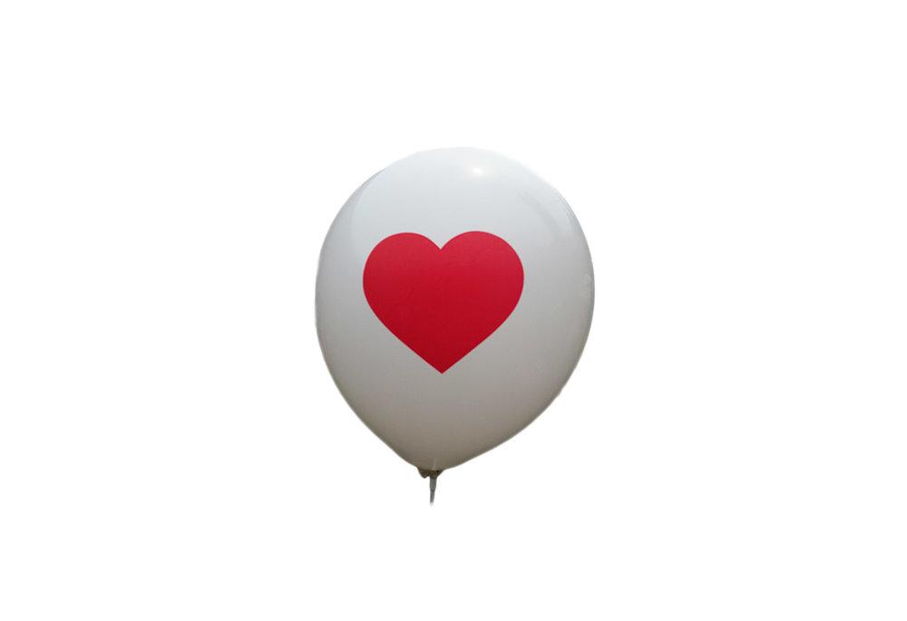 25 stuks - Witte ballon met rood hart 30 cm hoge kwaliteit